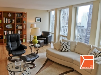 condo livingroom after remodel