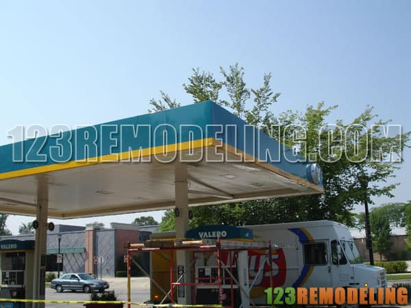 Commercial Repair of Gas Station Overhang