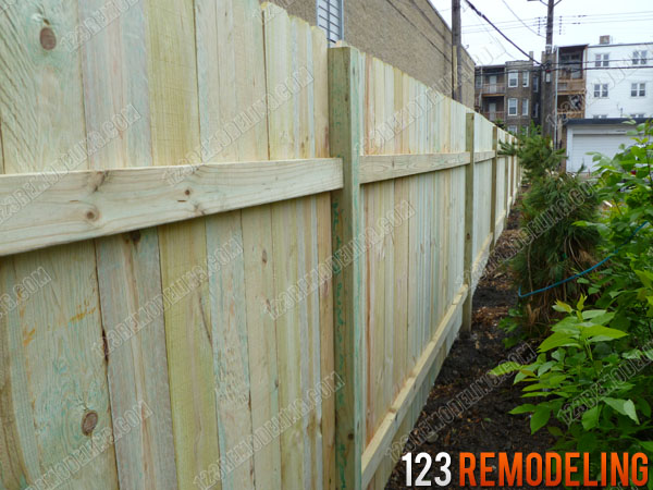 Logan Square Wood Fence Installation