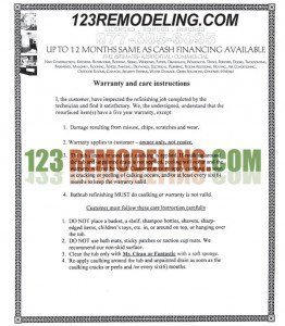 Bathtub Refinishing Warranty and Care Instructions