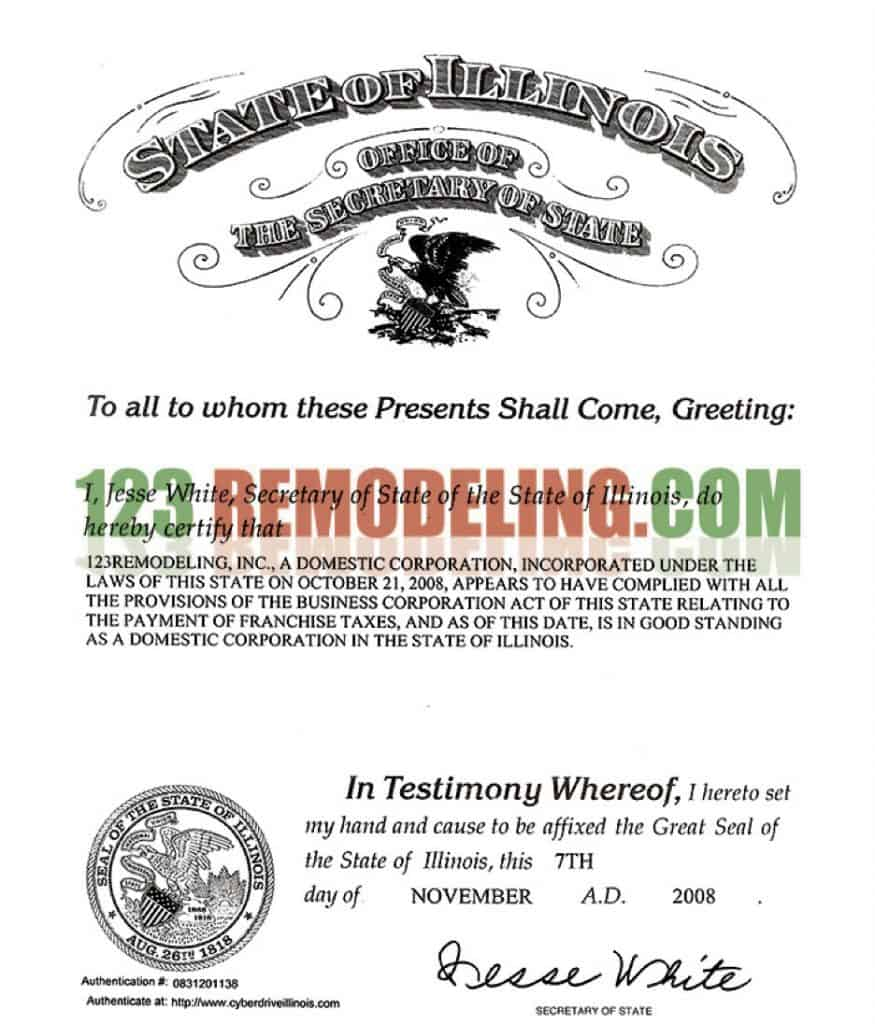 Good standing certificate 123 remodeling good standing certificate xflitez Choice Image
