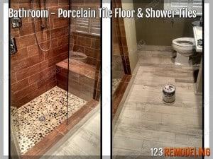 Porcelain Tile Floor - Bathroom Remodeling