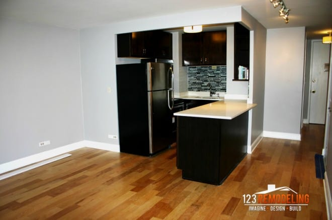 remodeled kitchen flooring by 123 remodeling