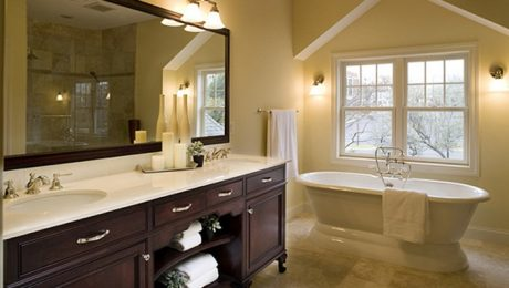 a completed traditional bathroom
