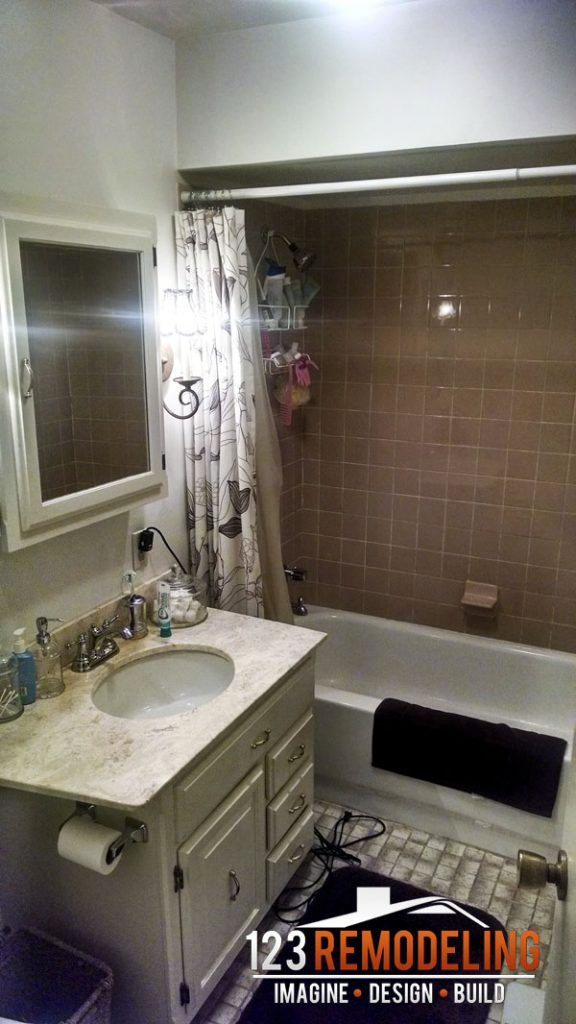 Before Contemporary High-Rise Bathroom Remodel - 40 E Cedar St, Chicago, IL (Gold Coast)