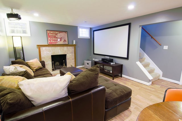 Interior of a completely renovated basement with designed lighting
