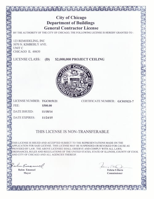 Construction Documents | Licenses & Insurance - 123 Remodeling
