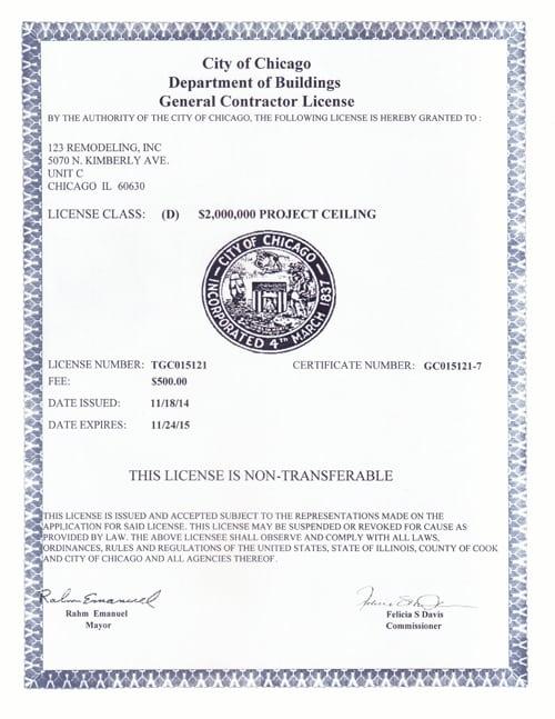 2014-2015 General Contractor License