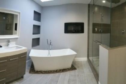 completed Skokie master bathroom remodeling