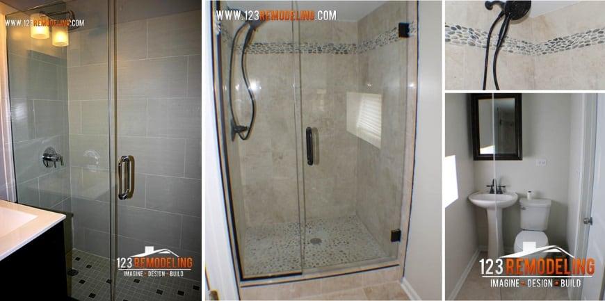 creative small bathroom ideas glass door shower