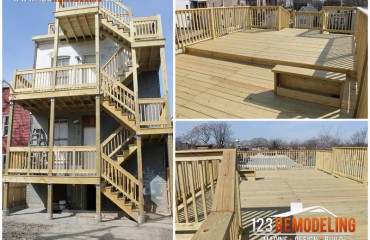 Wooden Rooftop Deck and Porch