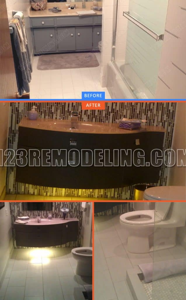 123 Remodeling's bathroom creating space by knocking down wall, installing wall-mounted sink with underneath lighting and replacing bathtub with frameless glass door walk-in shower.