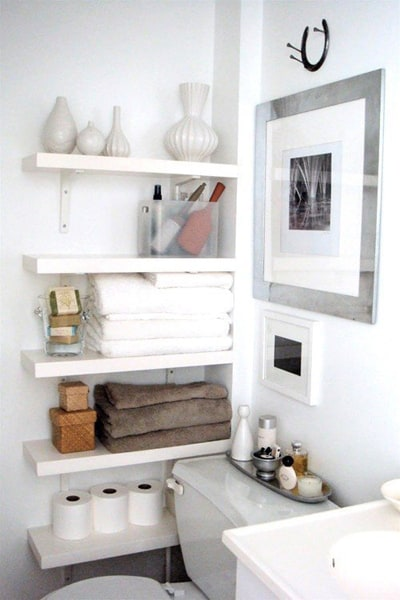 Corner shelving for small bathroom