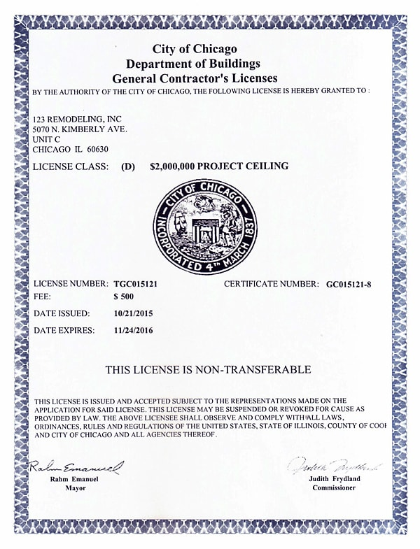 2015-2016 General Contractor's License