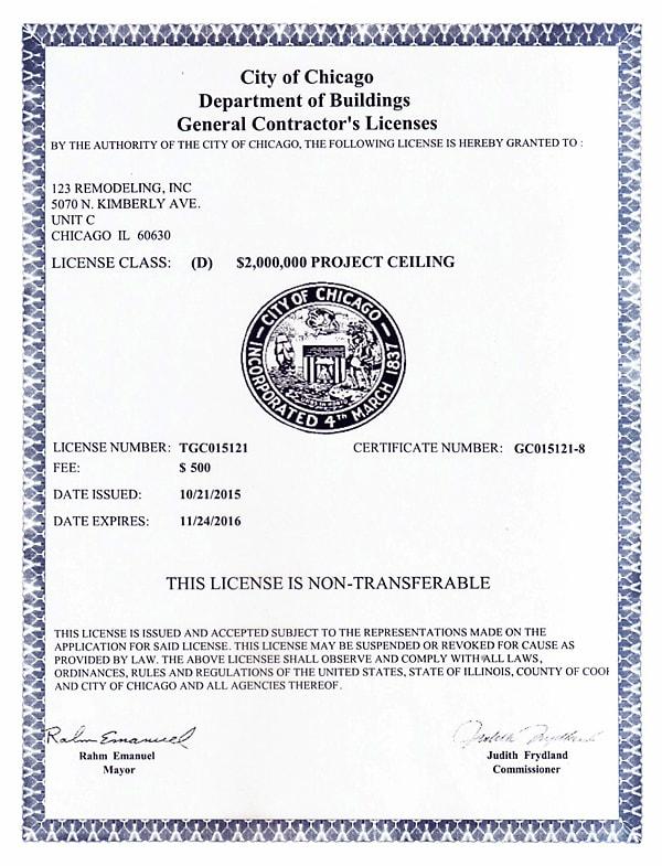 2015-2016 General Contractor's License