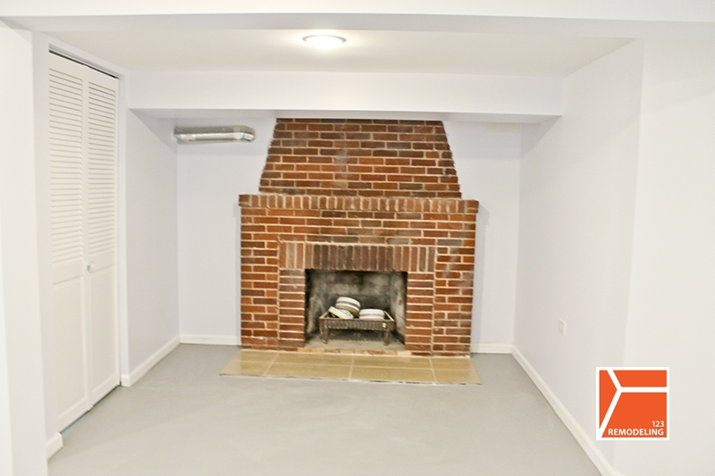 basement remodeling chicago fireplace