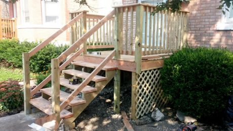 exterior remodeling wooden staircase