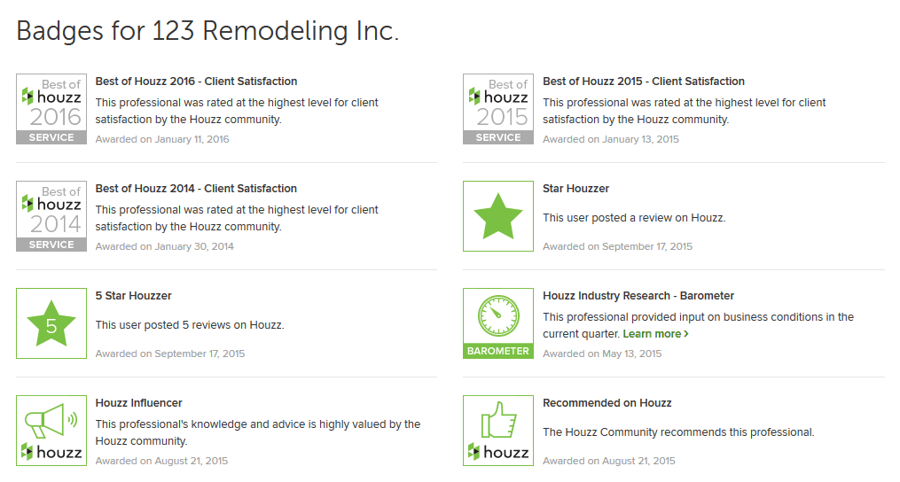 houzz badges collection snapshot