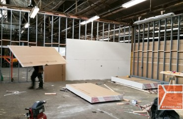 repurposing warehouse drywall divide wall