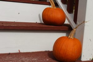 pumpkins on exterior stairs