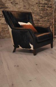oak floor and rustic chair