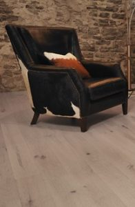 oak floor and rustic chair