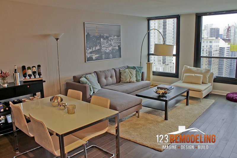 After Condo Living Room Remodel - 1030 N. State St, Chicago, IL (Gold Coast)
