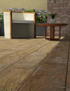rustic wood-look tile on patio