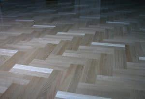 parquet herringbone wood-look tile