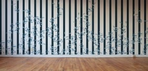 striped wallpaper with vines by Candice Kay Designs