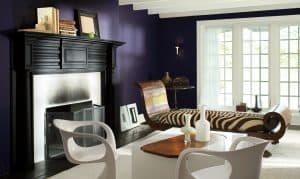 living room with Benjamin Moore Shadow accents