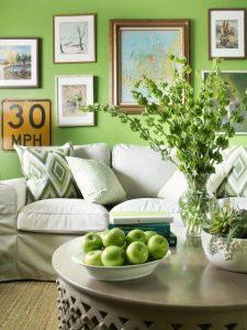 living room Pantone Greenery