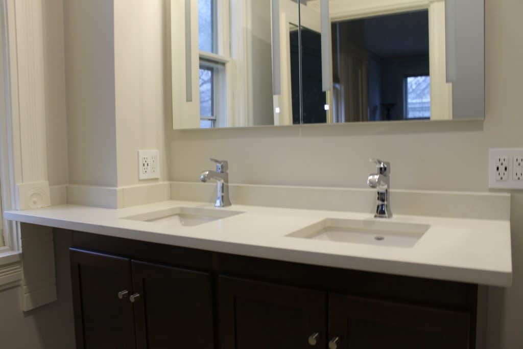 bathroom remodel in evanston with twin sinks