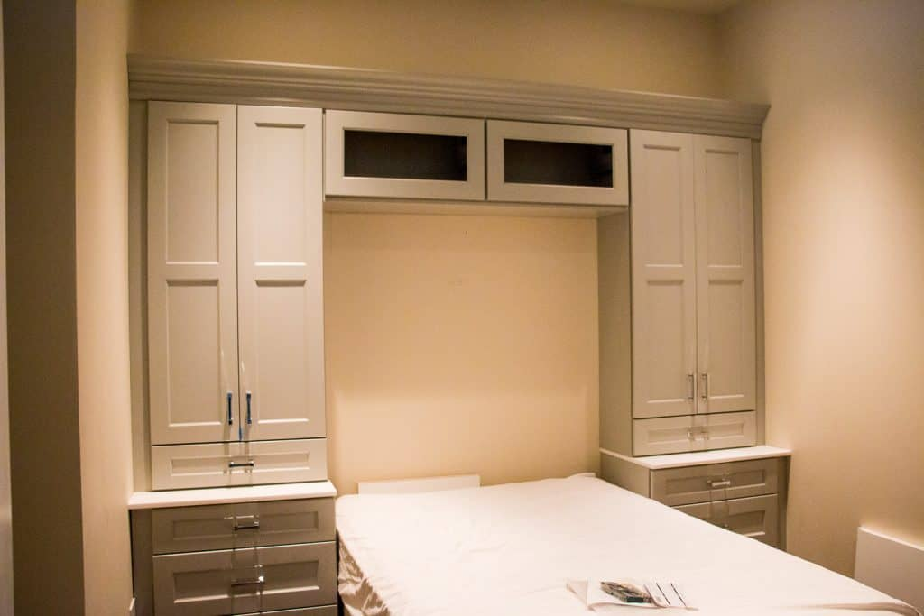Guest Bedroom in Downtown Chicago with modern built in cabinets