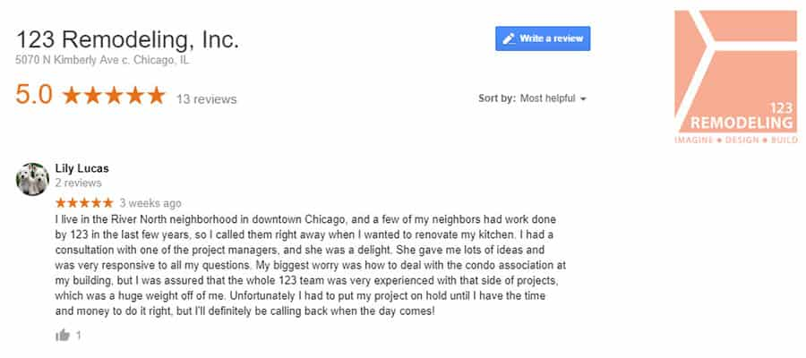 123 Remodeling Google review for River North condo remodel in Chicago