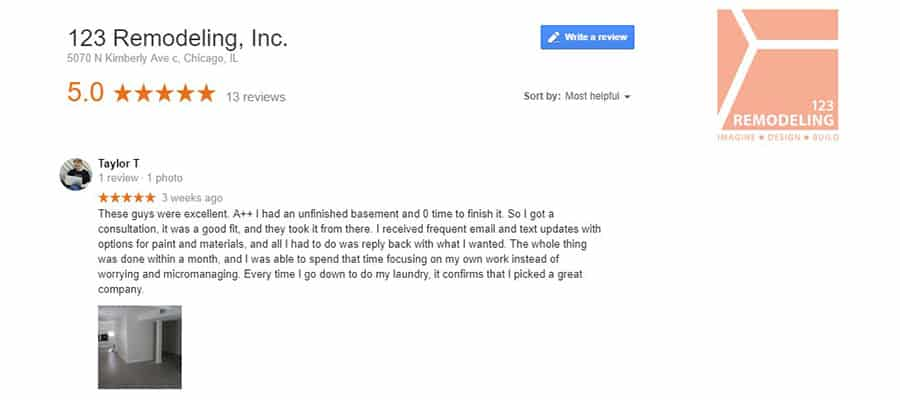 123 Remodeling Google review for basement refinishing project in Oak Park