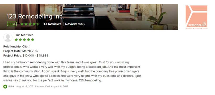 123 Remodeling Houzz review for Old Town bathroom remodel in Chicago