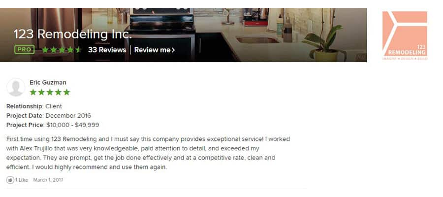 123 Remodeling Houzz review for Gold Coast bathroom and kitchen condo remodel in Chicago