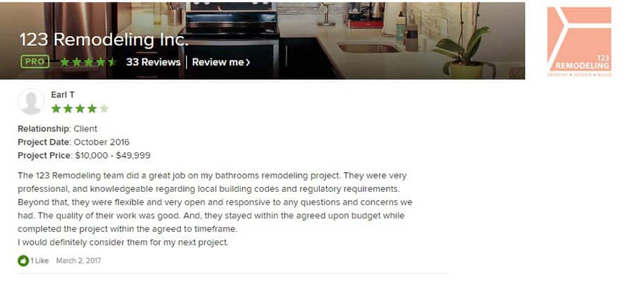 123 Remodeling Houzz review for South Loop condo remodel in Chicago
