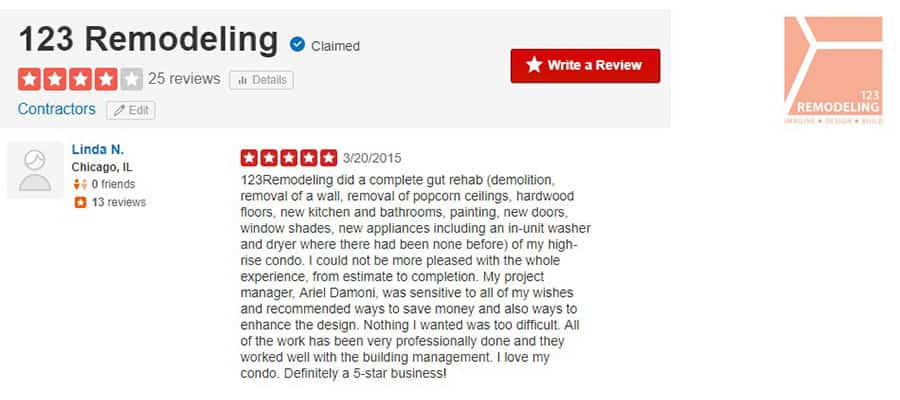 123 Remodeling Yelp review for Gold Coast condo remodel in Chicago