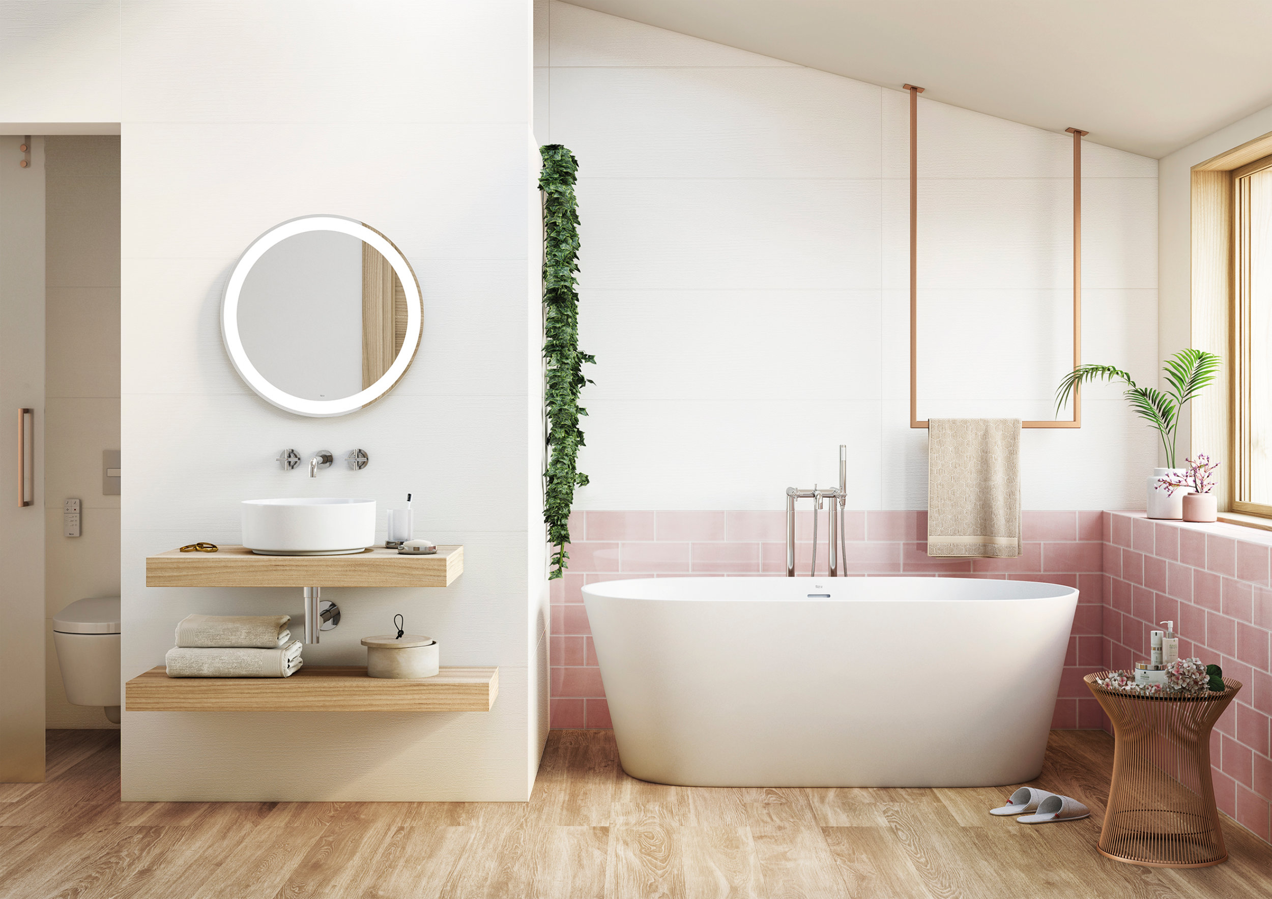 Bathroom with velvet pink tile and wooden floor by MOXIE