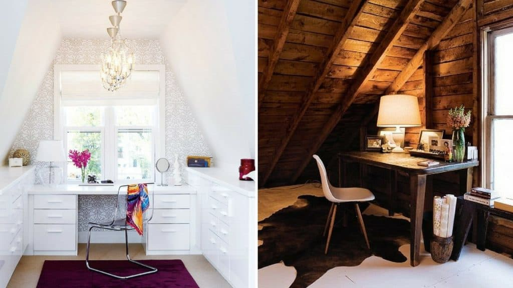 white home office and rustic attic design