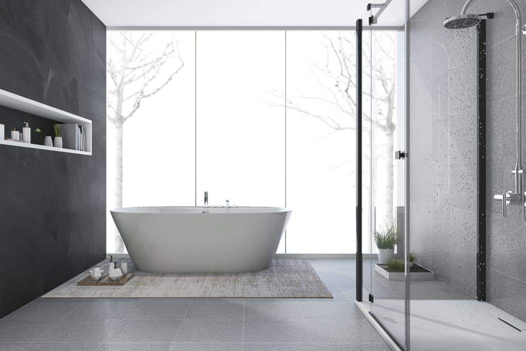 modern bathroom with free standing tub and glass enclosed shower