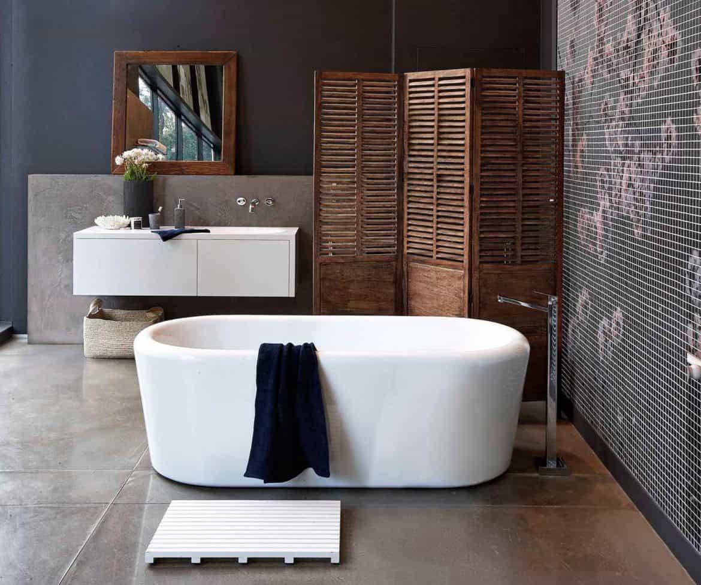 industrial design bathroom with freestanding tub