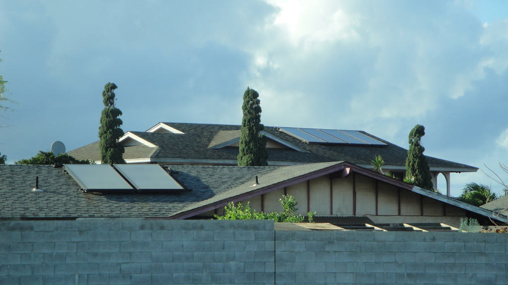 multiple roofs with solar panels
