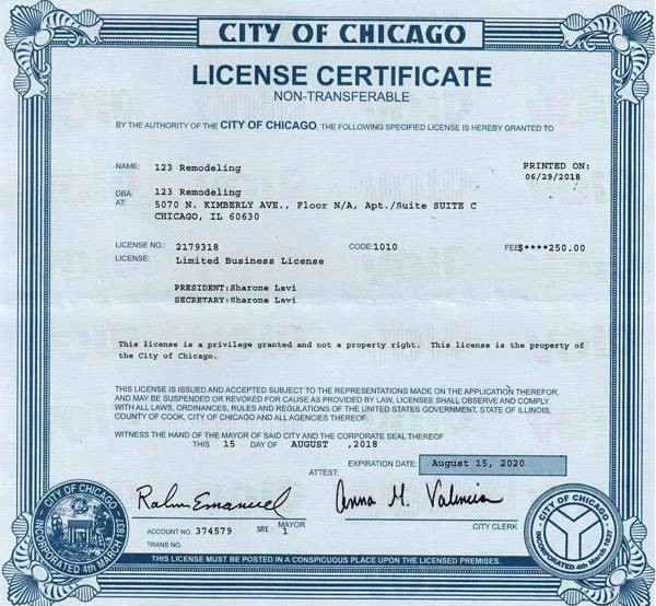 123 Remodeling Regulated Business License