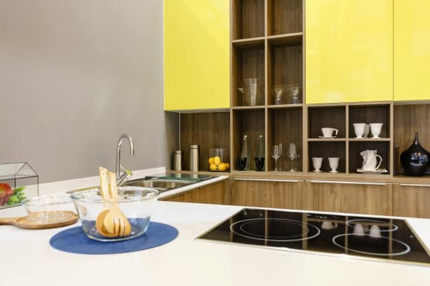 modern kitchen with open shelving