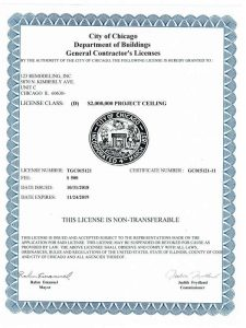 2019 City of Chicago Department of Buildings General Contractor's License for 123 Remodeling