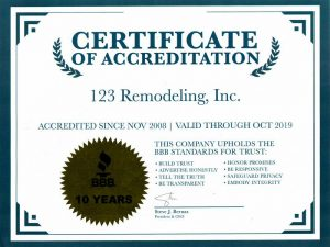 2018 Better Business Certificate of Accreditation for 123 Remodeling