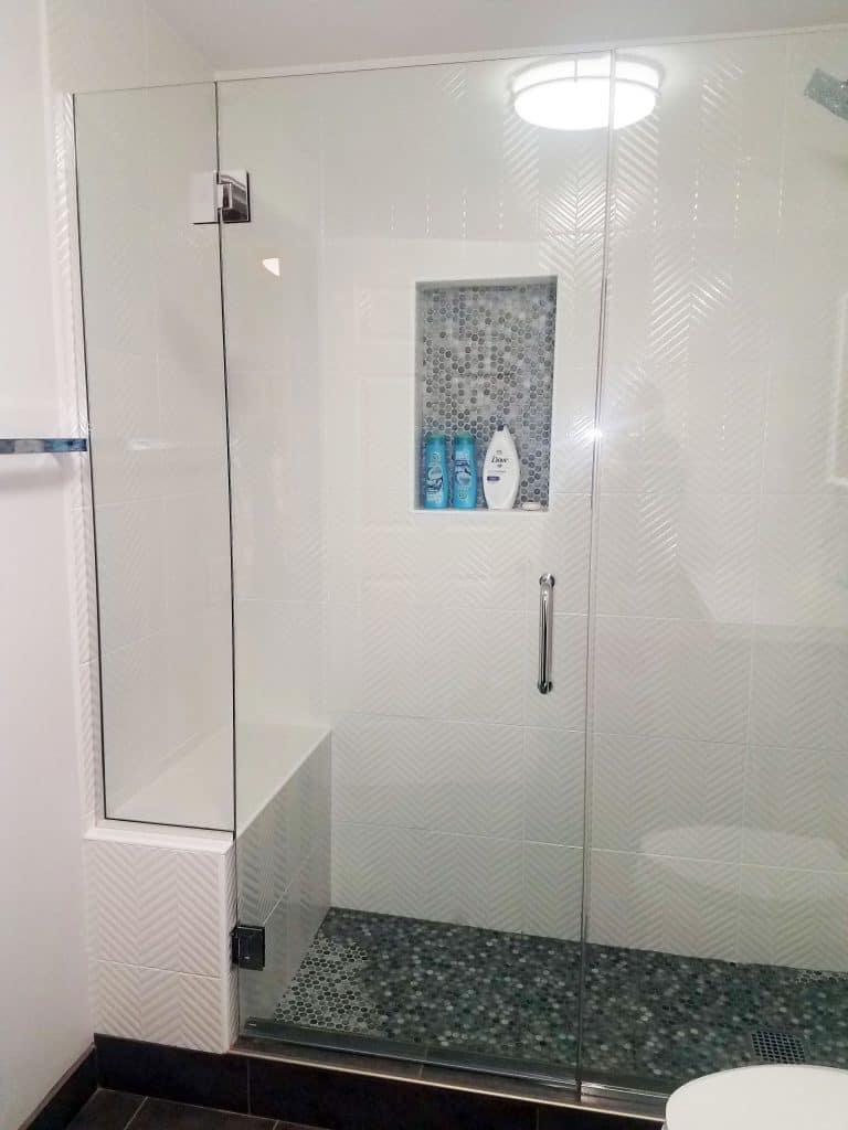 white walk-in shower